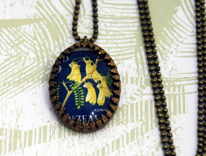 Oval Crown Setting Kowhai New Zealand Stamp Necklace