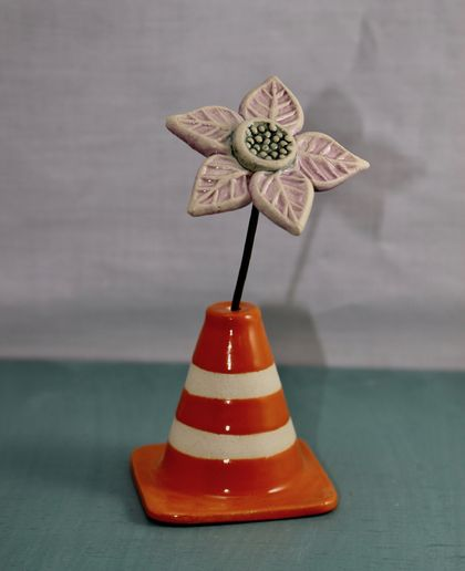 Traffic Cones with ONE ceramic flower