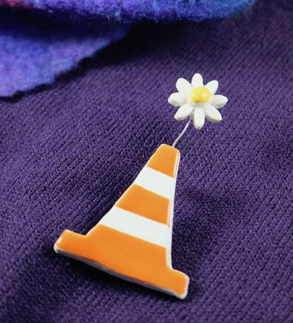 Traffic Cone ~ Brooch
