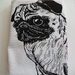 Hand Printed Pug Tea Towel