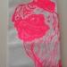 Hand Printed Pug Tea Towel  - Neon Pink