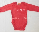batik hearts onesie- red