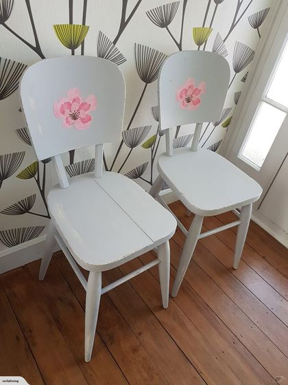 2 x Restyled 50s Shabby Chic Vintage chairs