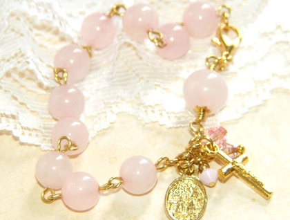 Rose Quartz Rosary Bracelet, Pink & Gold Gemstone Beads