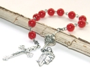 Pocket Rosary, Red & Silver, Handmade in NZ