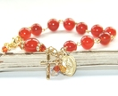 Rosary Bracelet, Carnelian Gemstone Beads, Guardian Angel Charm