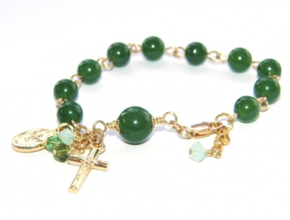 Greenstone Rosary Bracelet for Girl or Teen (Small Size)
