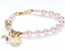 Pink Swarovski Pearl Rosary Bracelet for Catholic Girl