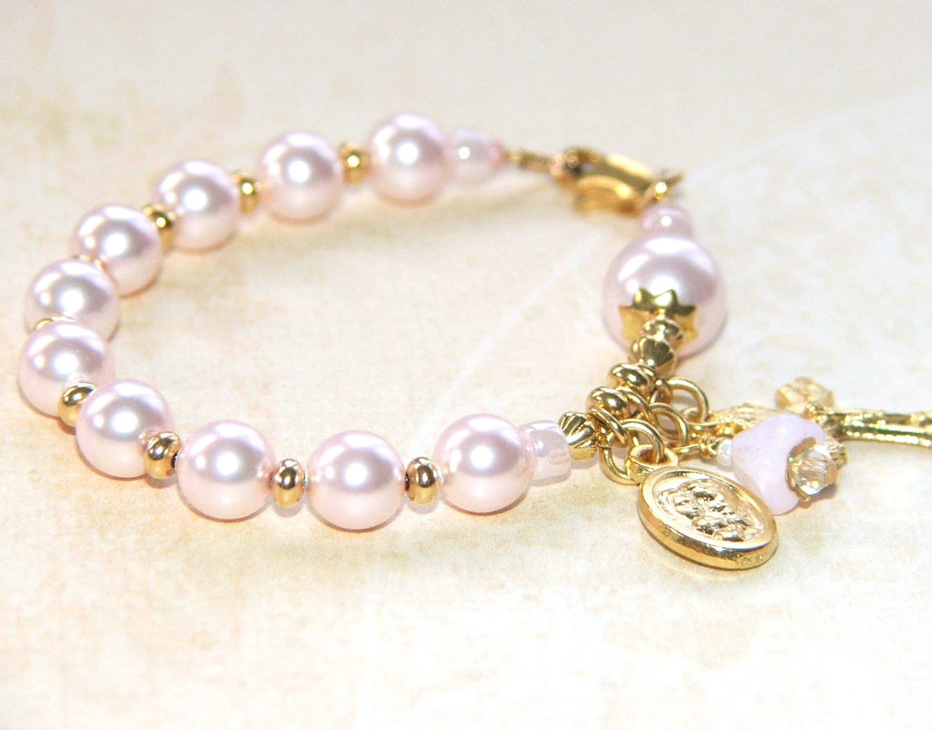 girl baby first silver sterling listing bracelet with communion flower pearl jewelry il baptism gift cross
