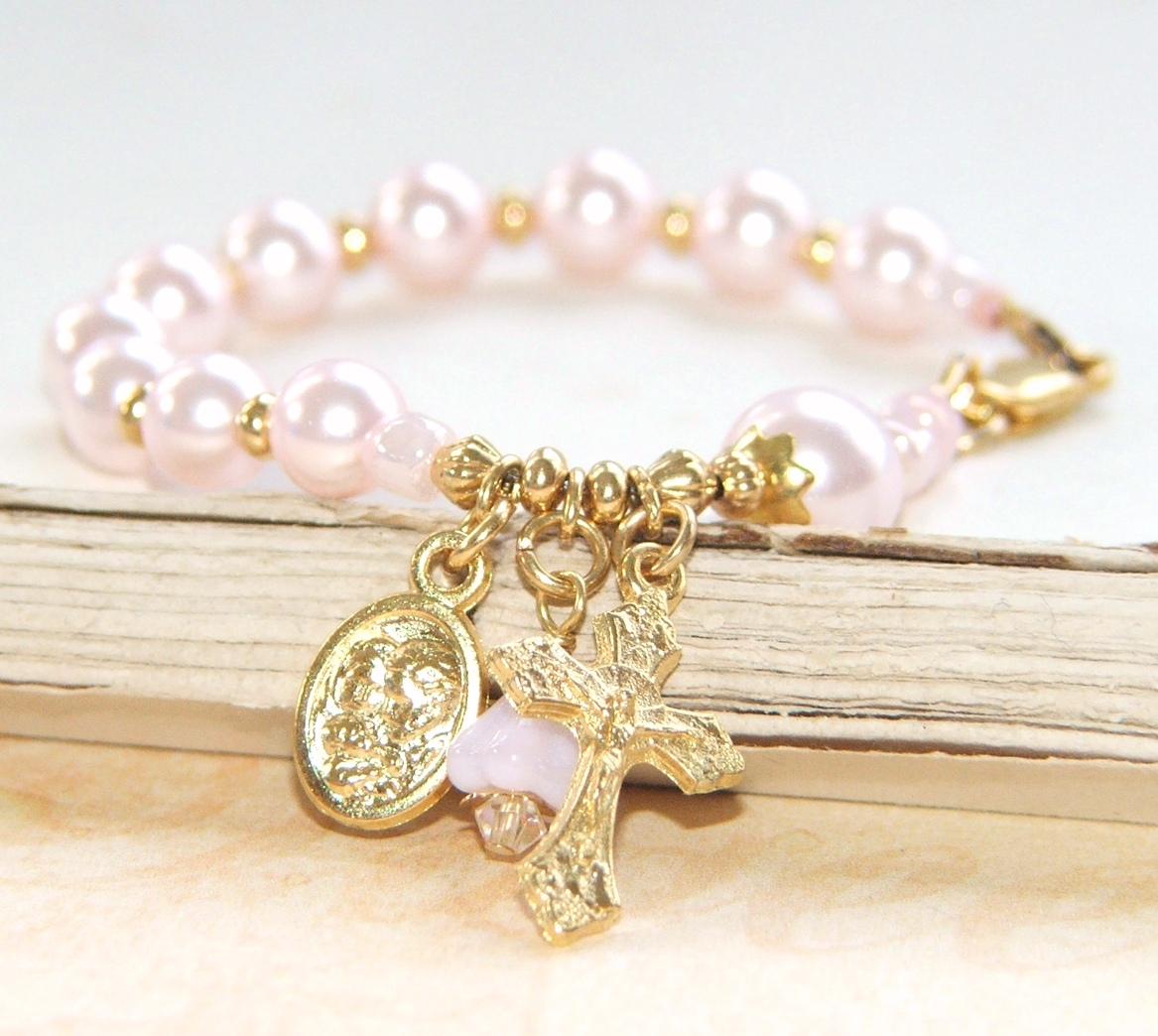 Baby Gifts For Catholic Baptism : Catholic baby bracelet rosary for girl