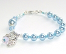 Baby Blue Girl's Rosary Bracelet, Holy Family Medal / Swarovski Crystallized Elements™ Pearls