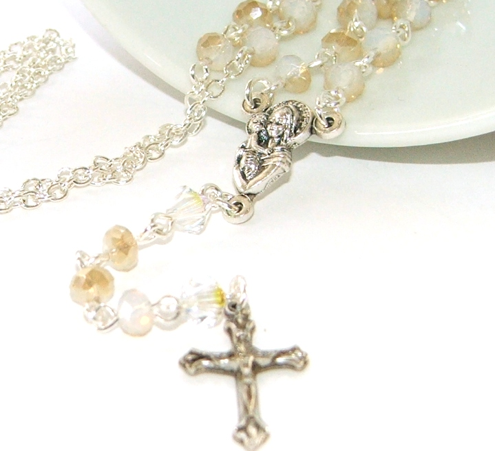 Baptism Gift Rosary Necklace for Catholic Baby or Young ...