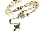 Rosary Necklace in Opal Champagne Crystal & Brass, Anglican Rosary Style