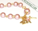 Personalised Rosary Bracelet with Gold Initials, Rose Pearls, Catholic Bracelet