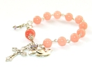 Rosary Bracelet in Pink Jade with Dove & Cross