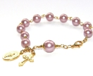 Rosary Bracelet, Pink Pearls & Gold Cross, Miraculous Medal