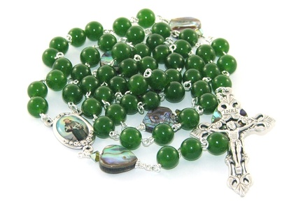 Greenstone & Paua Shell Rosary - St Francis of Assisi Center