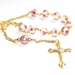 Pretty Catholic Pocket Rosary, Gold & Lampwork Glass Beads