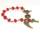 Catholic Rosary Bracelet, Vivid Red Crystals & Angel's Wing