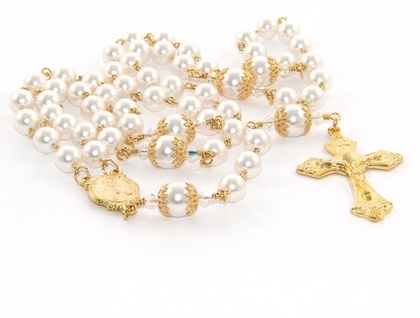 Rosary Necklace, White Swarovski Pearls with Gold Cross