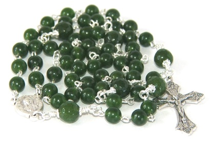 Greenstone - Nephrite Jade Catholic Rosary Beads