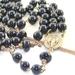 Rosary Beads, Black Onyx & Brass, Celtic Crucifix