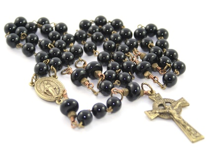 Rosary Beads, Black Onyx & Brass, Celtic Crucifix