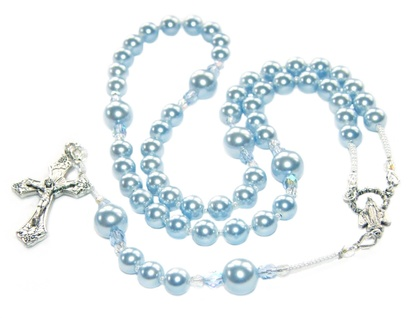 Baptism Rosary, Blue Swarovski Pearls with Silver