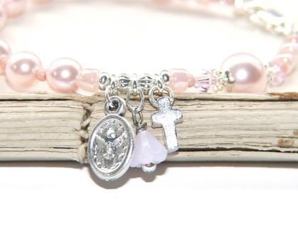 Girl's Rosary Bracelet in Rosaline Pink Pearls, Holy Family Medal / Swarovski Crystallized Elements™ Pearls