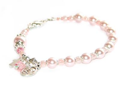 Girl's Rosary Bracelet in Rosaline Pink Pearls, Holy Family Medal / Swarovski Crystallized Elements™ Pearls