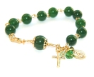 Greenstone Rosary Bracelet, Divine Mercy & Our Lady of Guadalupe