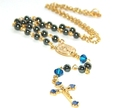 Rosary Necklace, Petite Hematite & Gold
