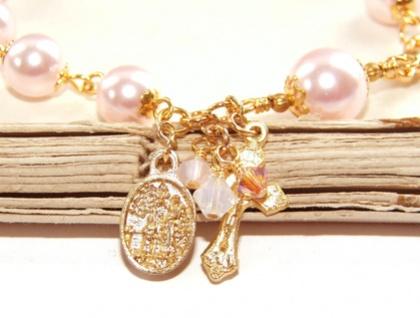 Pink Pearl Gold Rosary Bracelet, Handmade in NZ