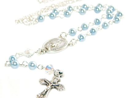 Baby's Rosary Necklace - Catholic Baptism Gift - Blue Swarovski Pearls