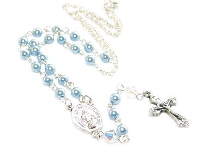 Baby's Rosary Necklace - Catholic Baptism Gift - Blue Swarovski Pearls