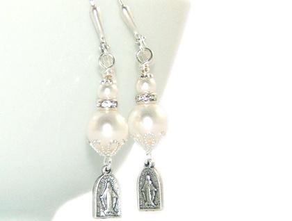Catholic Earrings with Miraculous Medal & Swarovski Pearls