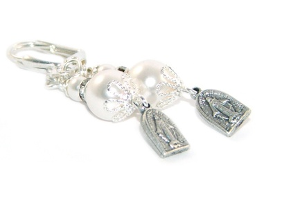 Catholic Earrings with Miraculous Medal & Swarovski Pearls