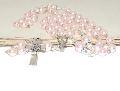 First Holy Communion Pink Pearl Rosary