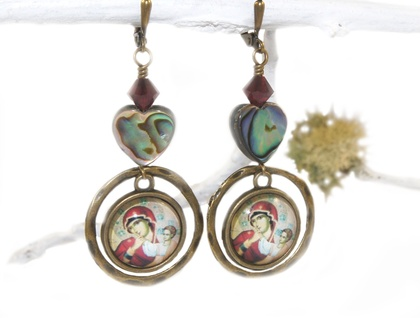 Madonna & Child & Paua Shell Drop Earrings