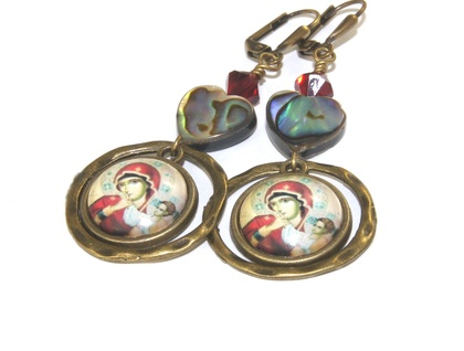 Madonna & Child & Paua Shell Drop Earrings