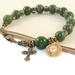 Greenstone Rosary Bracelet, Holy Spirit Medal & Tiny Cross