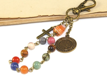 Saint Christopher Travel Rosary, Gemstone Beads & Brass