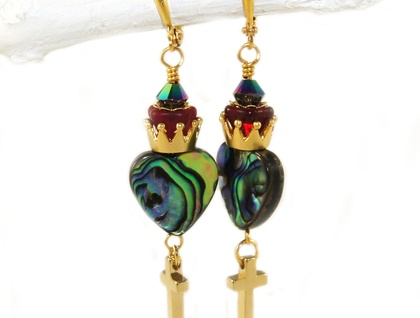 Sacred Heart Earrings - Paua & Gold Crown