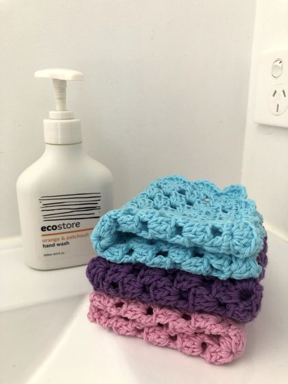 Three Crocheted Cotton Washcloths