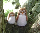 Mother Owl with Baby Owlet  -  Needle felted in New Zealand Wool
