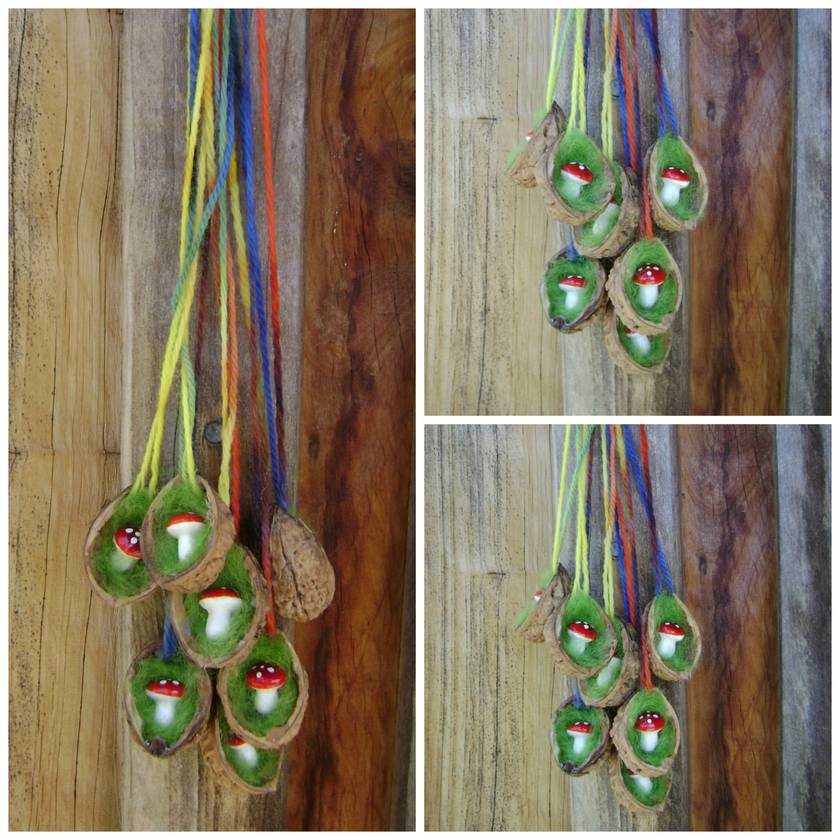 Three Toadstools in Walnut necklaces - The perfect child gift - Waldorf inspired