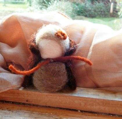 One wool cloaked child - Earth child - Waldorf inspired - Wool felt and wool