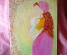 Mother with child - Spring painting - Waldorf inpired - Nice gift for a new Mother