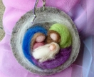 NZ wool Nativity  scene -  wool picture gift  - Waldorf inspired - Perfect for the festive season