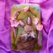 New Zealand rabbit wool art - needle felted backgound with wool hare - nursery or childs bedroom art